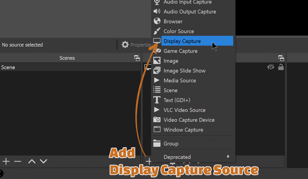 How to create a new Display Capture source in OBS