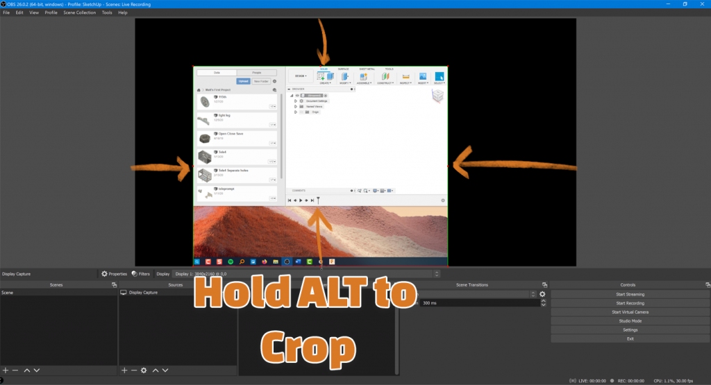 Hold ALT to crop source in OBS